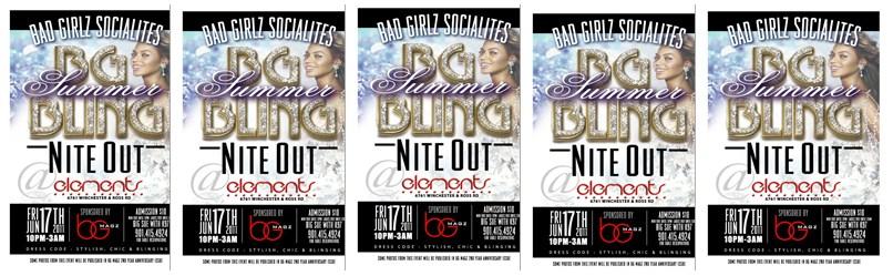 Where My Bad Girlz? BG Socialites Summer Bling | Elements Ultra Lounge 6/17/11