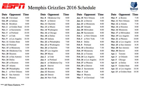 Memphis Grizzlies Schedule